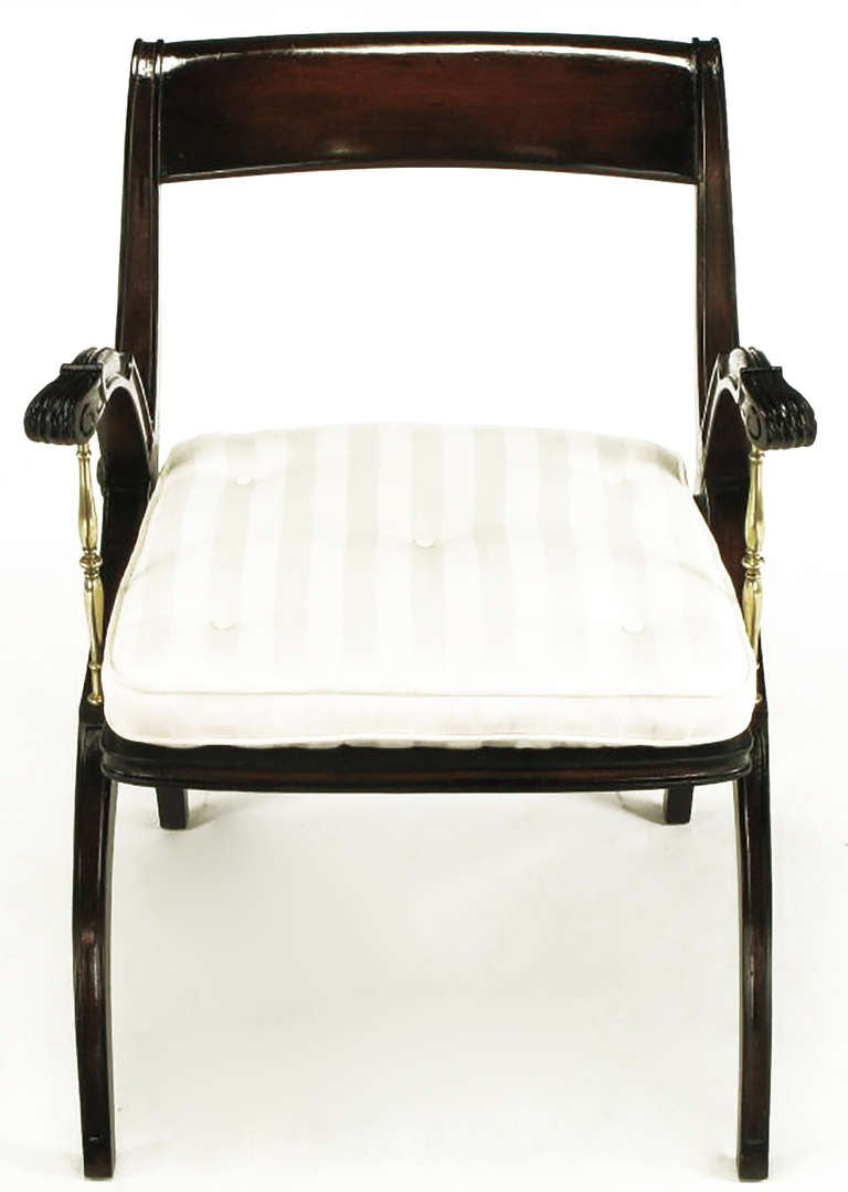 Mahogany and Brass Open-Back Armchair In Good Condition For Sale In Chicago, IL