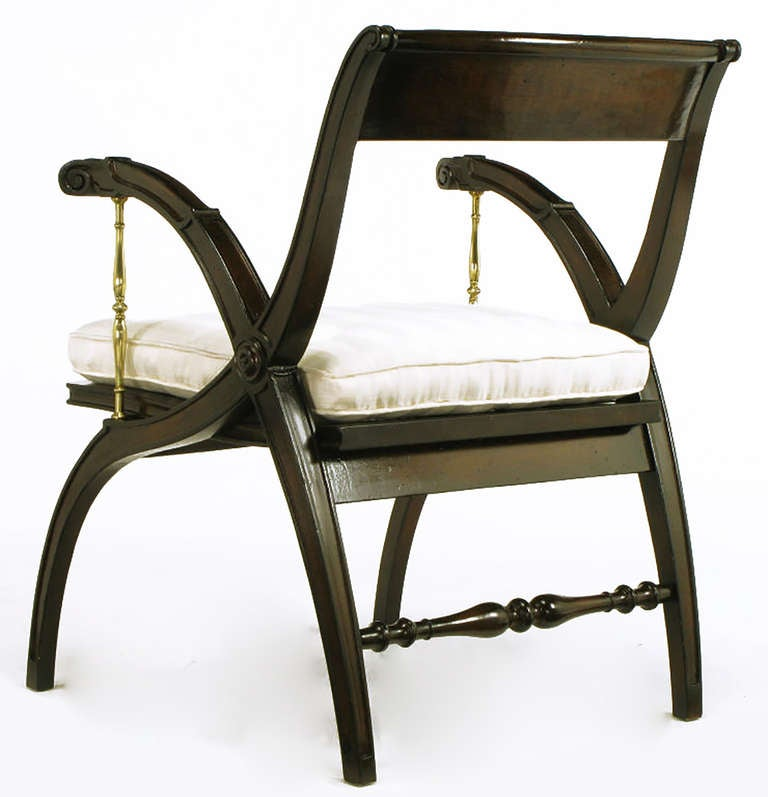 Mahogany and Brass Open-Back Armchair For Sale 1
