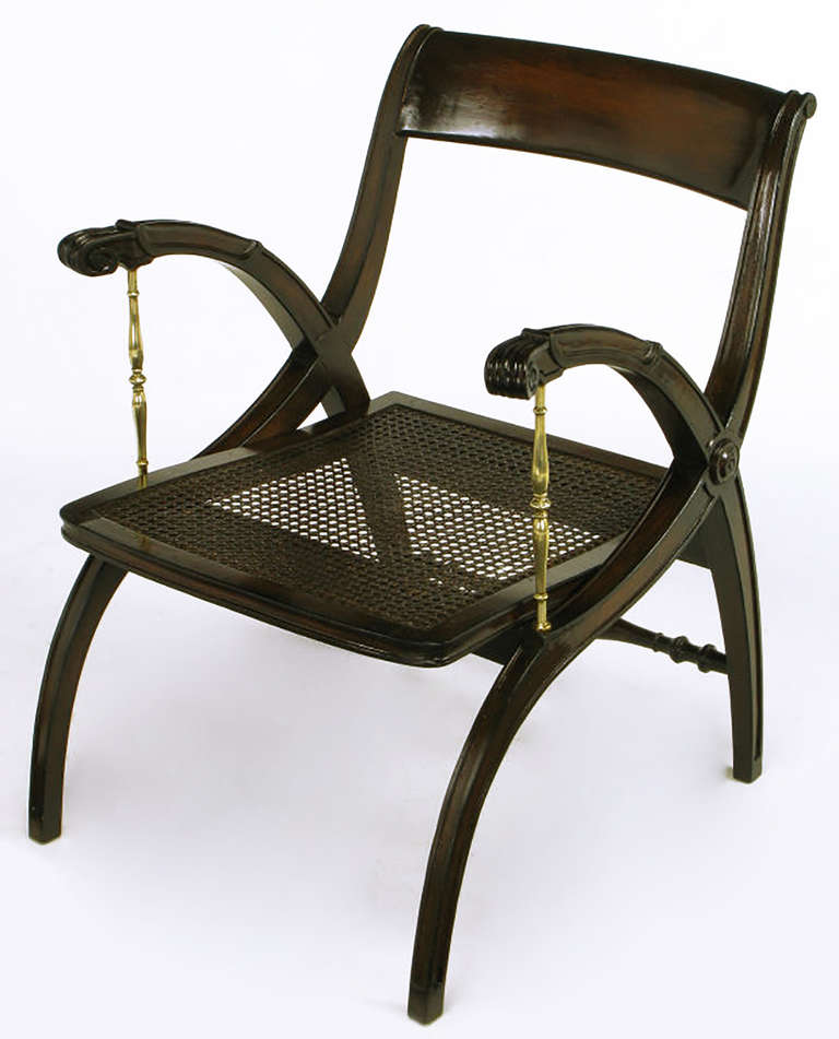 Mahogany and Brass Open-Back Armchair For Sale 3