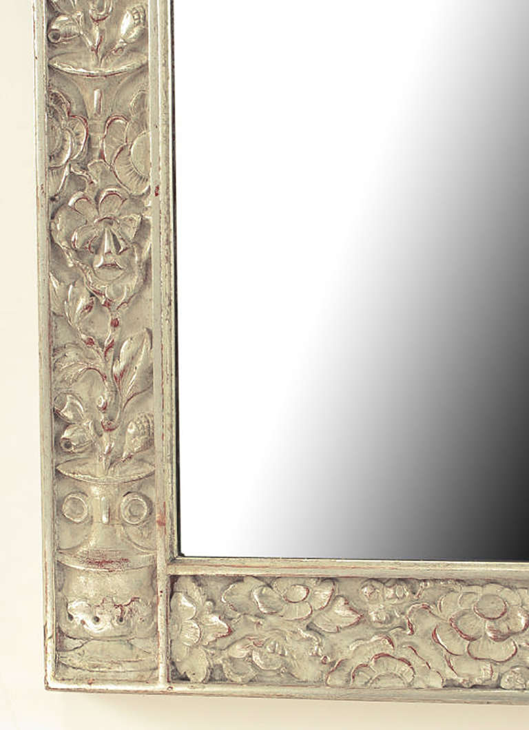 American Art Deco Carved and Silver-Leafed Wood Mirror For Sale