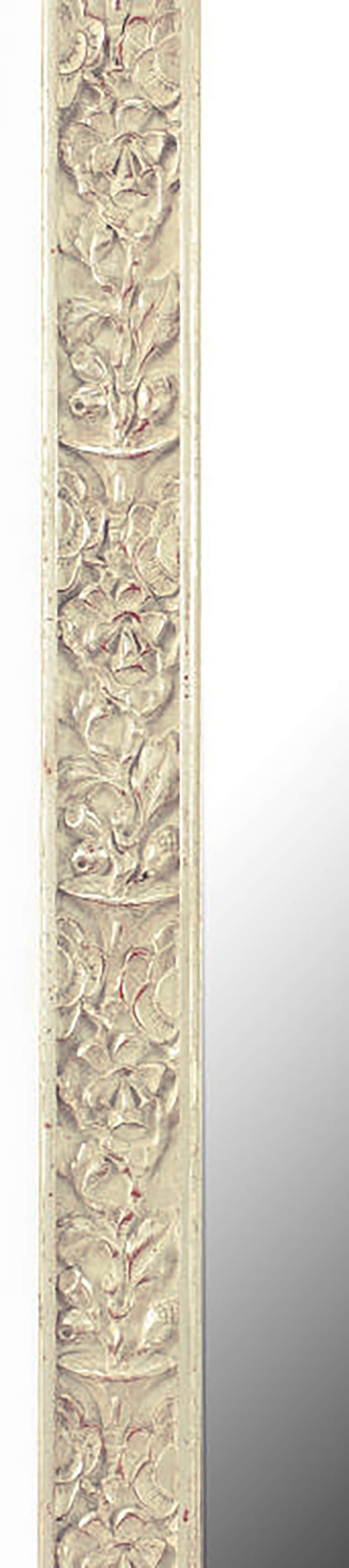 Art Deco Carved and Silver-Leafed Wood Mirror In Good Condition For Sale In Chicago, IL