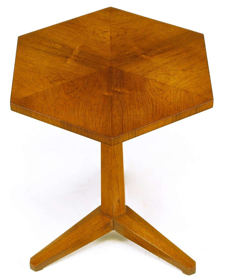 American Heritage Bleached Mahogany Hexagonal Side Table For Sale