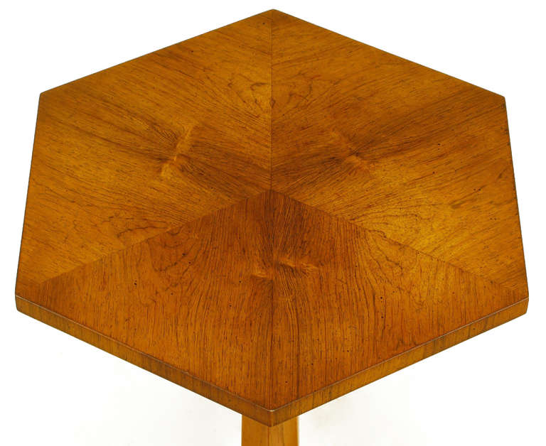 Heritage Bleached Mahogany Hexagonal Side Table In Good Condition For Sale In Chicago, IL