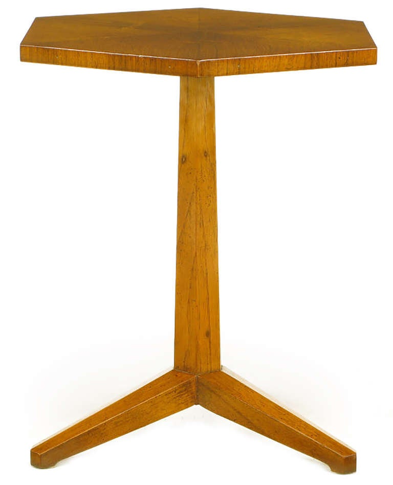 Mid-20th Century Heritage Bleached Mahogany Hexagonal Side Table For Sale