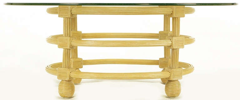 20th Century Jay Spectre Round Reeded Wood Coffee Table For Sale