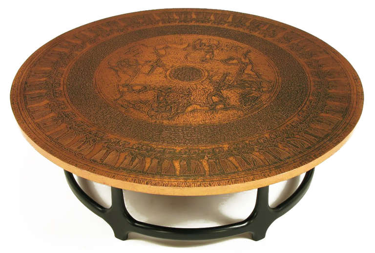 Round Copper Leaf Relief and Ebonized Walnut Coffee Table 2
