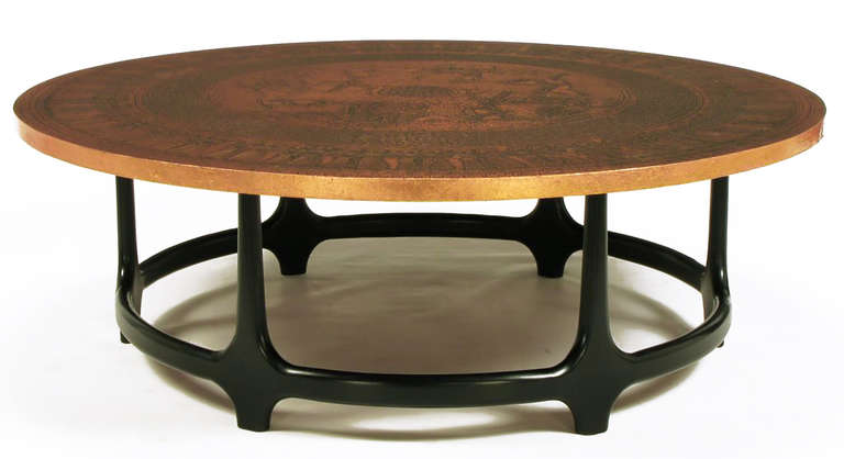 Round Copper Leaf Relief and Ebonized Walnut Coffee Table 4