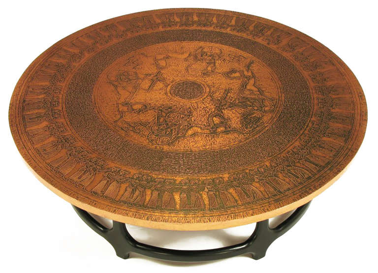 Round Copper Leaf Relief and Ebonized Walnut Coffee Table 10