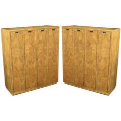 Pair Ash and Black Glass Wardrobe Cabinets