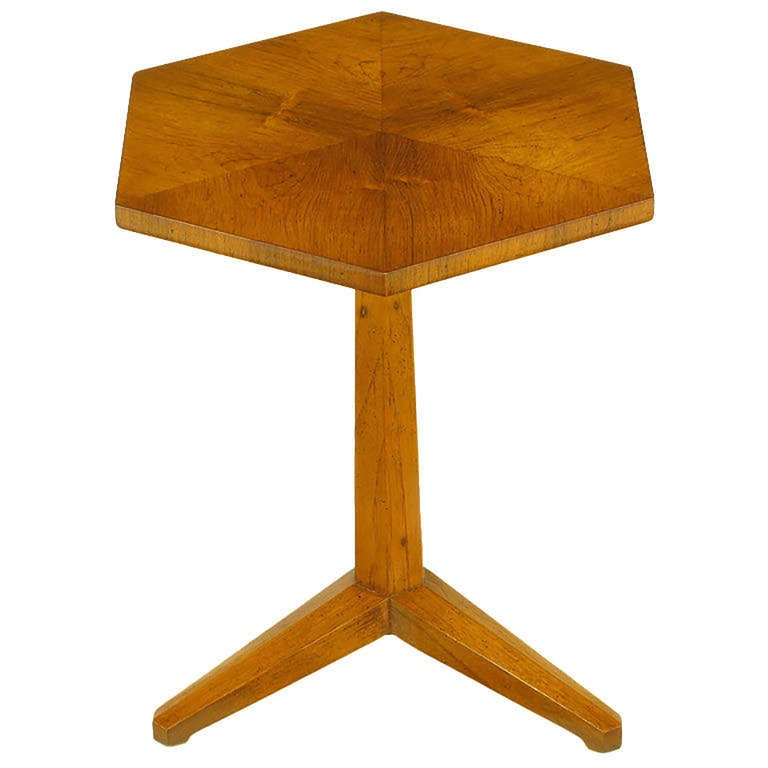 Heritage bleached mahogany hexagonal top table. Pie veneer top with hexagonal carved stem, carved tripod legs.