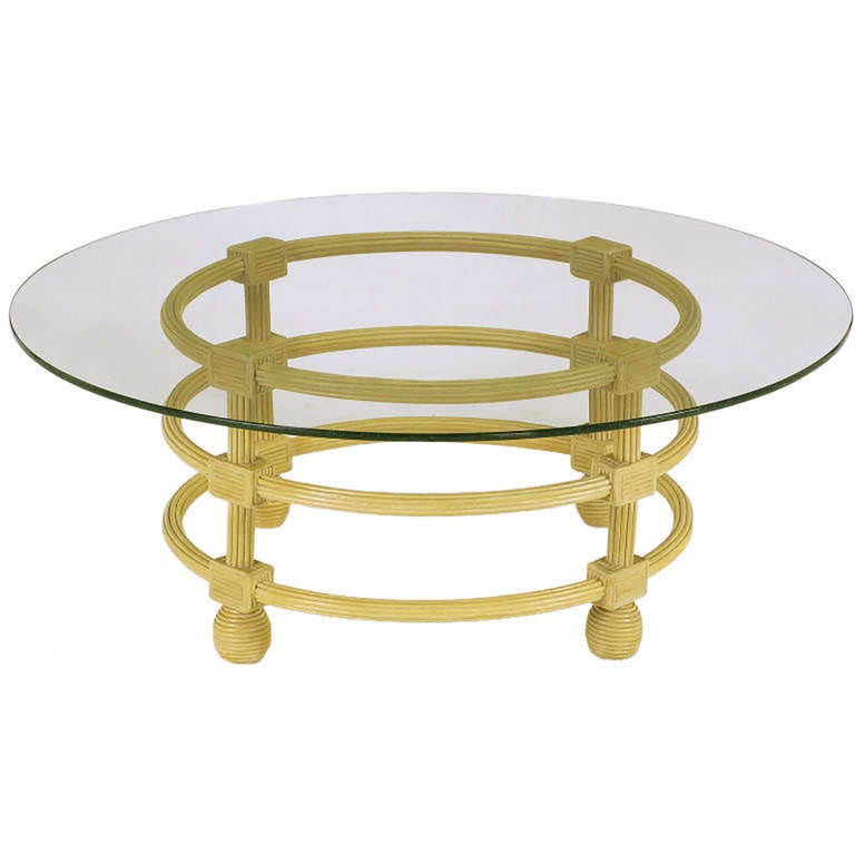 Jay Spectre Round Reeded Wood Coffee Table For Sale 2