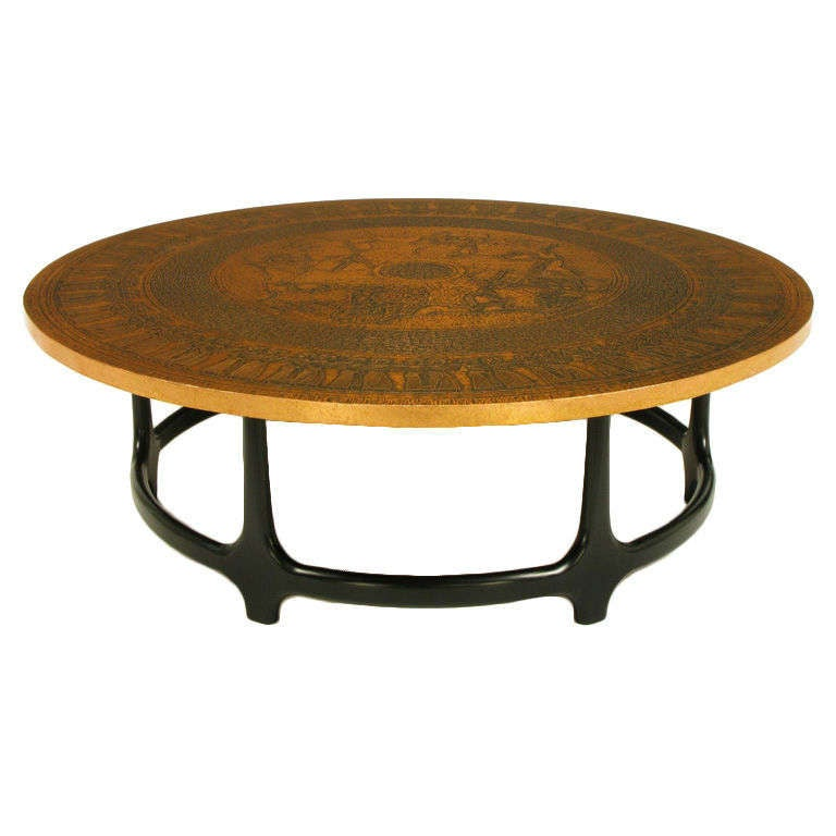 Round Copper Leaf Relief And Ebonized Walnut Coffee Table 3