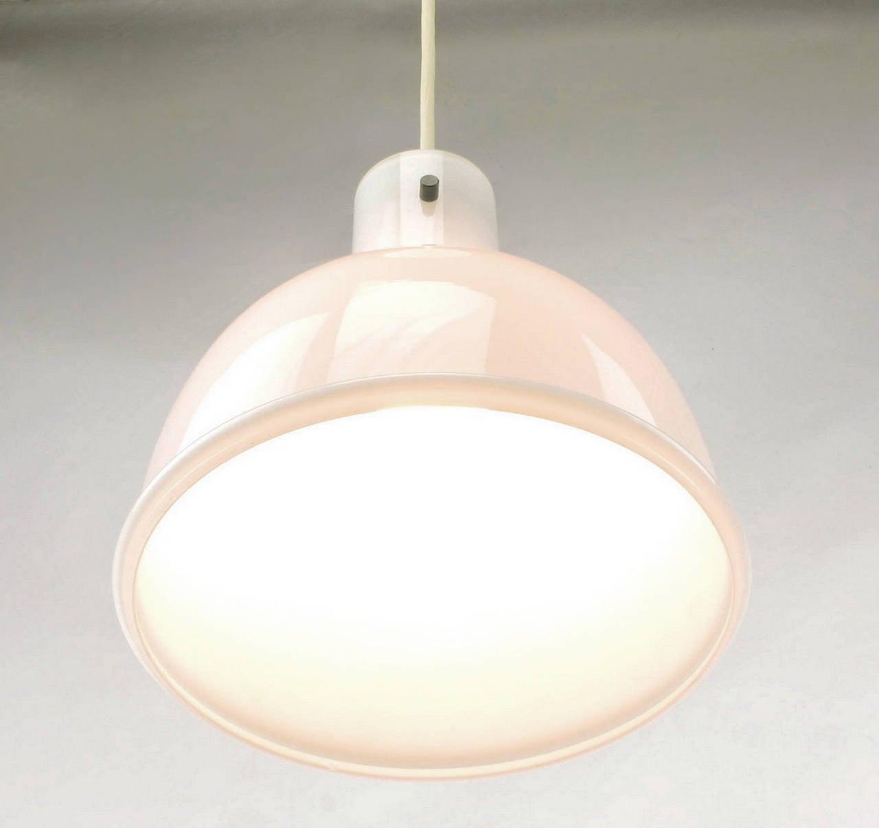 1970s Lightolier White Cased Glass Bell Form Pendant Light by Glashütte Limburg For Sale