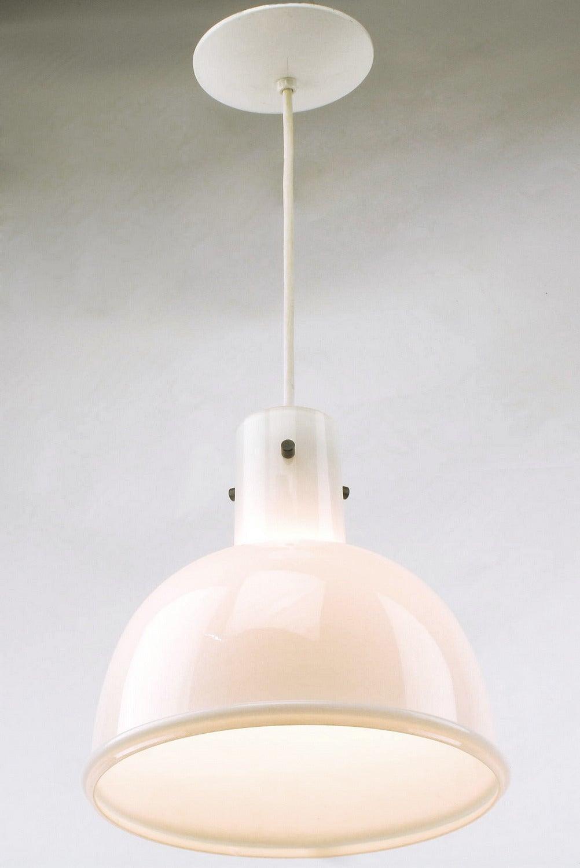 German Lightolier White Cased Glass Bell Form Pendant Light by Glashütte Limburg For Sale