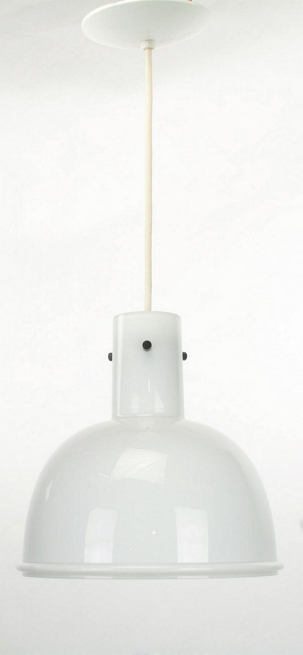 Lightolier White Cased Glass Bell Form Pendant Light by Glashütte Limburg For Sale 3