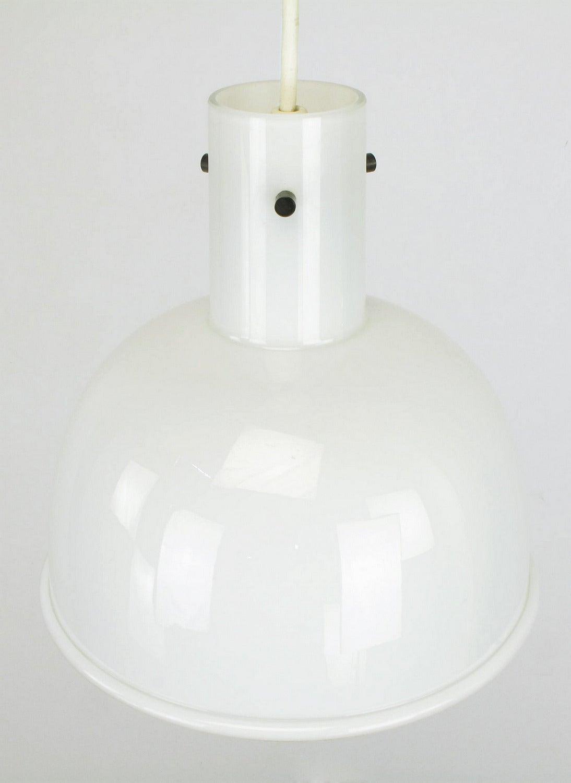 Lightolier White Cased Glass Bell Form Pendant Light by Glashütte Limburg For Sale 2