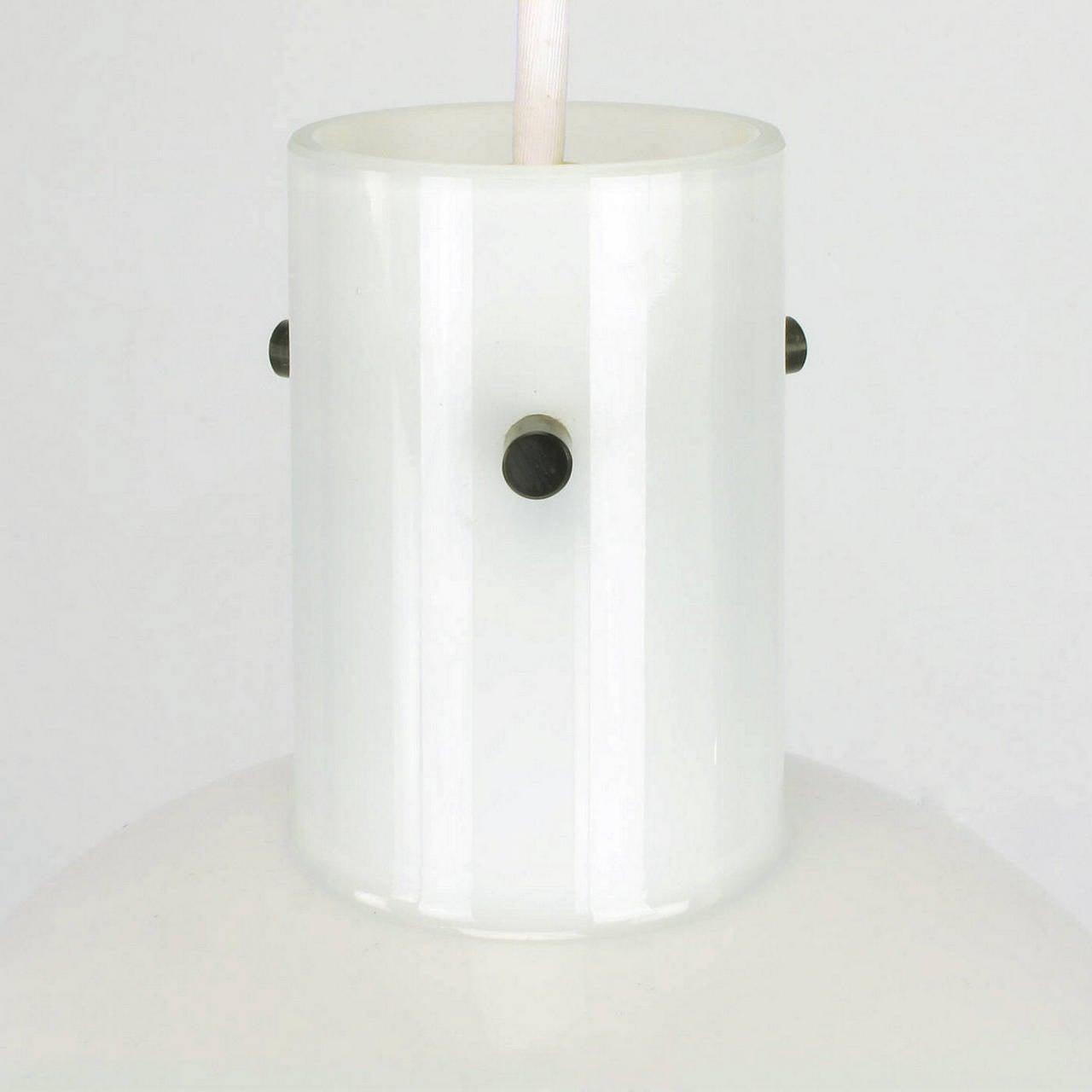 Metal Lightolier White Cased Glass Bell Form Pendant Light by Glashütte Limburg For Sale