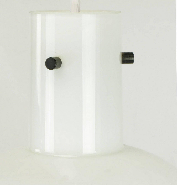 Lightolier White Cased Glass Bell Form Pendant Light by Glashütte Limburg For Sale 1