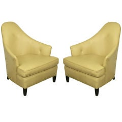 """Pair John Hutton For Donghia Taupe Leather """"Ghost"""" Chairs"""