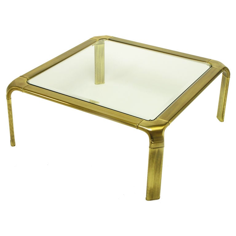 John Widdicomb Square Brass And Glass Canted Leg Coffee