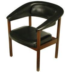 Walnut & Black Upholstery Barrel Back Desk Chair