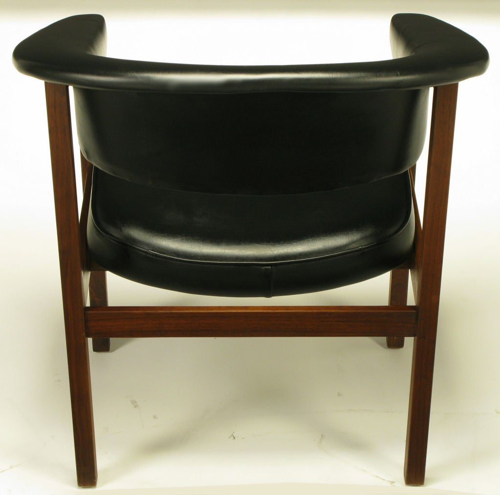 walnut and black upholstery barrel back desk chair at 1stdibs