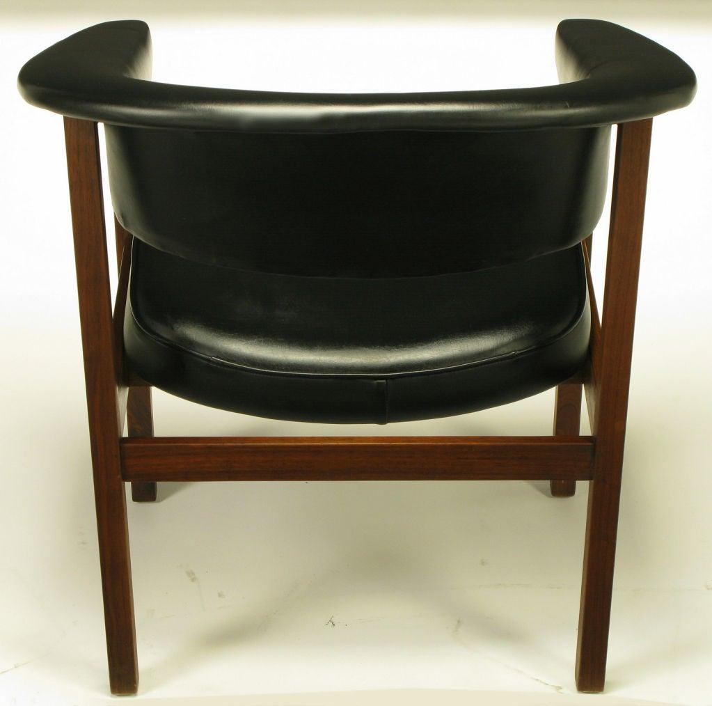 walnut and black upholstery barrel back desk chair at 1stdibs