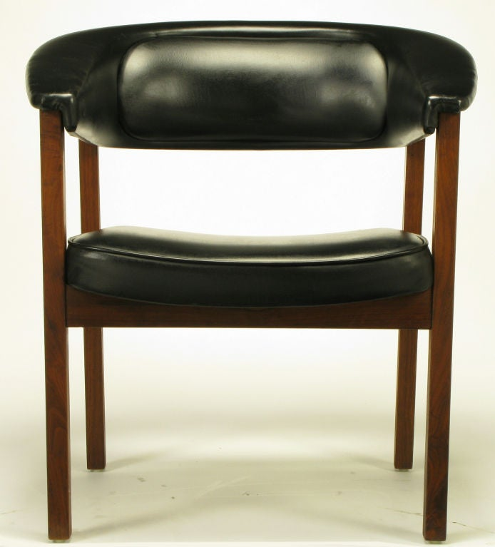 this walnut black upholstery barrel back desk chair is no longer