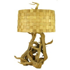 """45"""" Tall Entwined Driftwood Table Lamp With Basket Weave Shade"""