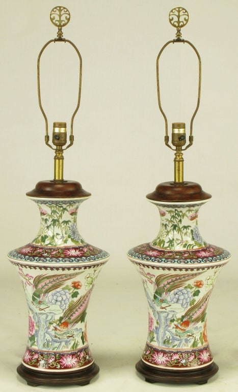 Pair Hand Painted Porcelain Chinoiserie Table Lamps 2