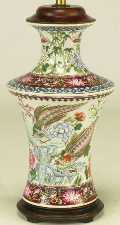 Pair Hand Painted Porcelain Chinoiserie Table Lamps 4
