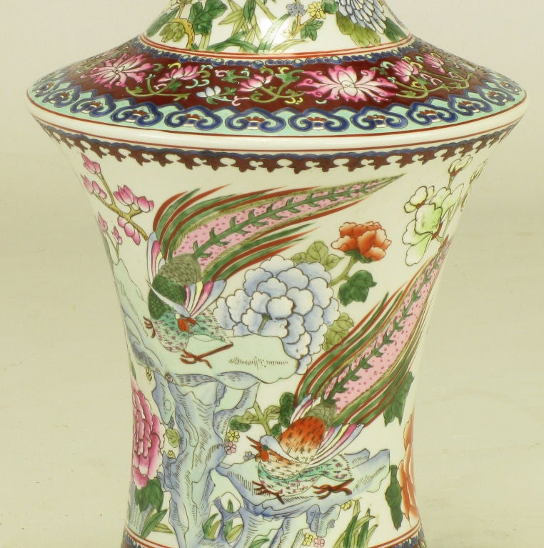 Pair Hand Painted Porcelain Chinoiserie Table Lamps 5