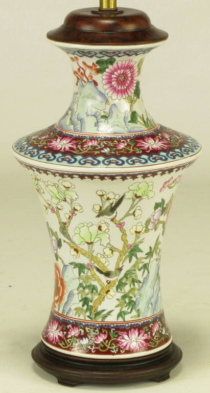 Pair Hand Painted Porcelain Chinoiserie Table Lamps 6