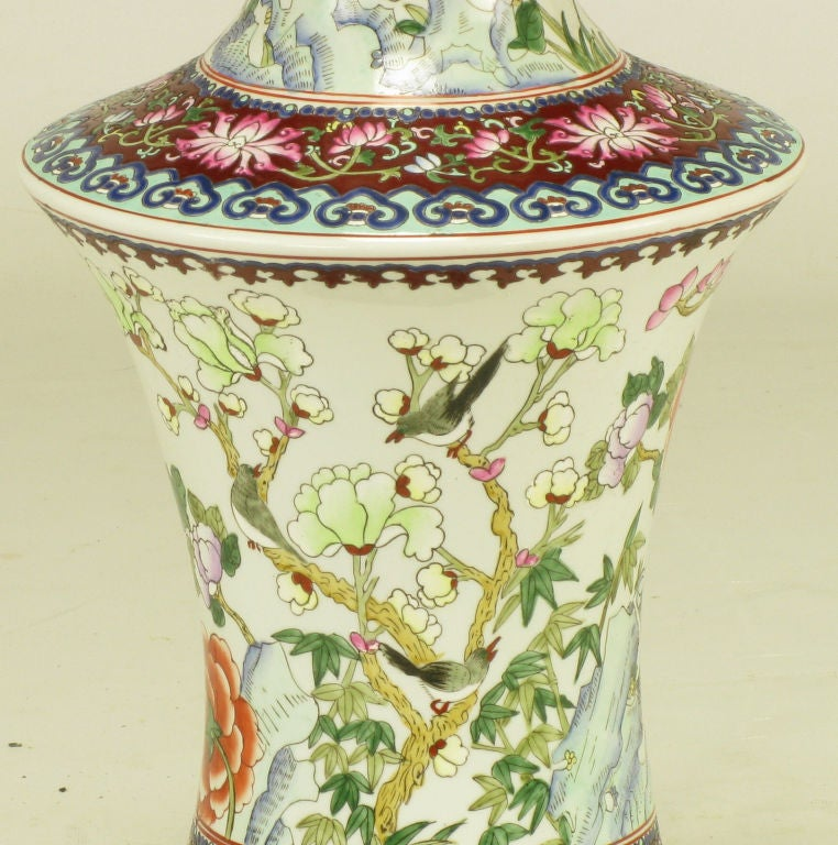 Pair Hand Painted Porcelain Chinoiserie Table Lamps image 7