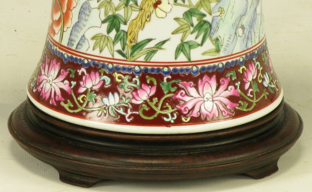 Pair Hand Painted Porcelain Chinoiserie Table Lamps image 8