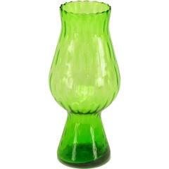 Kelly Green Ribbed Glass Vase
