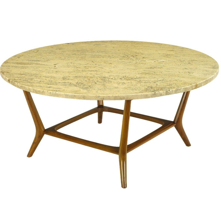 bertha schaefer italian walnut and travertine round coffee table at 1stdibs