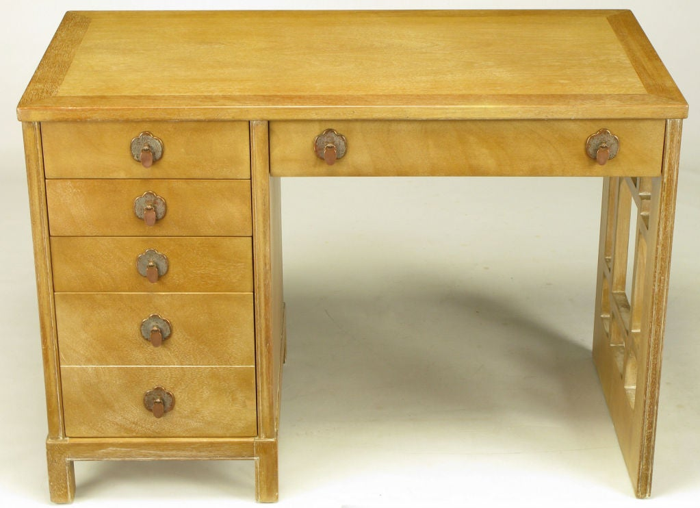American Landstrom Furniture Bleached & Limed Mahogany Six Drawer Desk For Sale