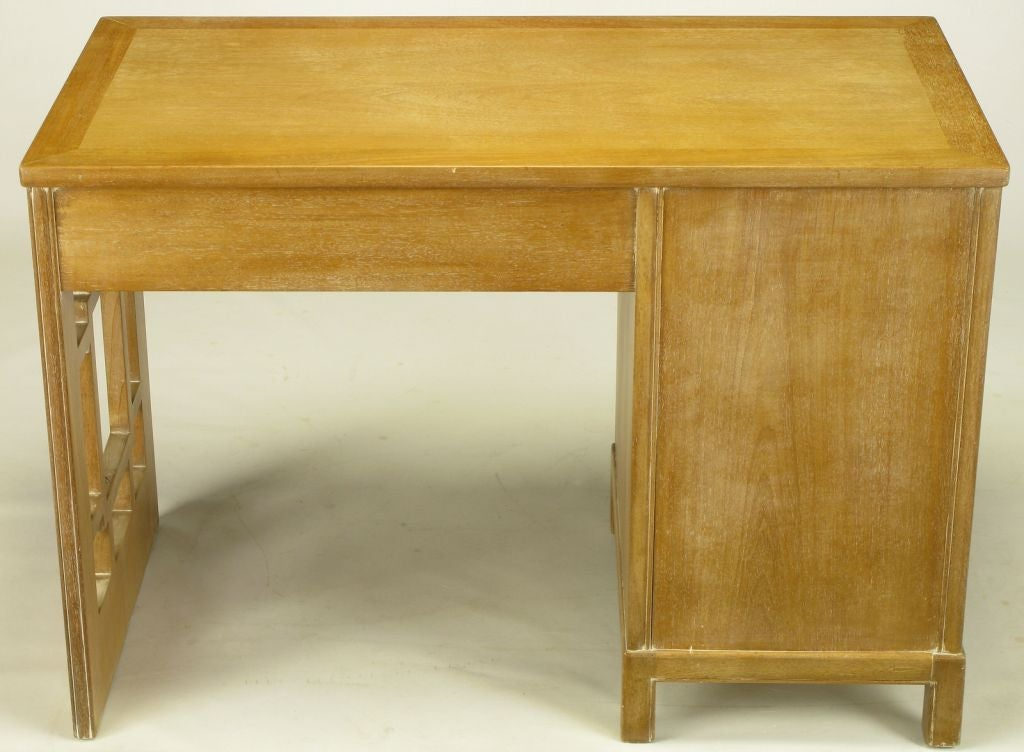 Mid-20th Century Landstrom Furniture Bleached & Limed Mahogany Six Drawer Desk For Sale