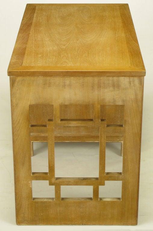 Landstrom Furniture Bleached & Limed Mahogany Six Drawer Desk For Sale 1