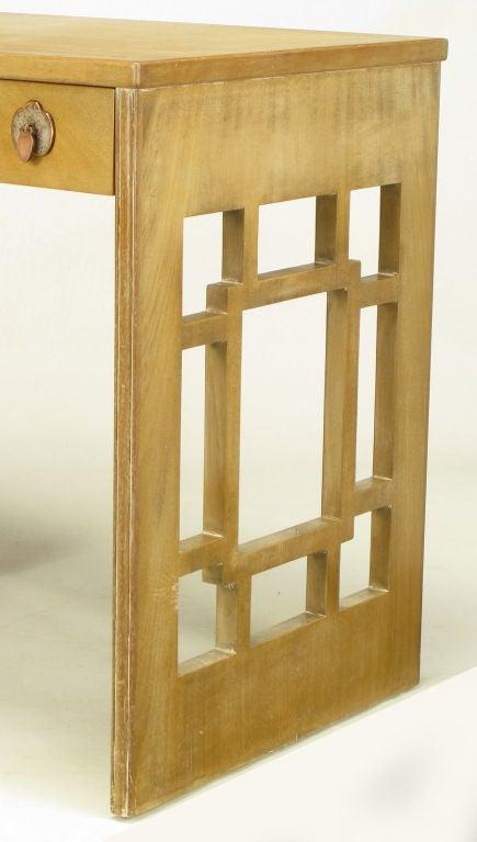 Landstrom Furniture Bleached & Limed Mahogany Six Drawer Desk For Sale 2