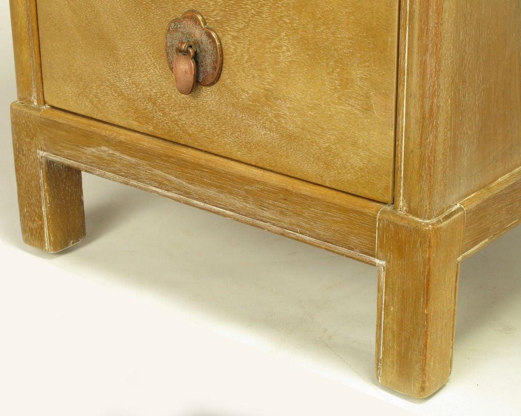 Landstrom Furniture Bleached & Limed Mahogany Six Drawer Desk For Sale 4
