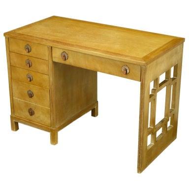 Landstrom Furniture Bleached & Limed Mahogany Six Drawer Desk