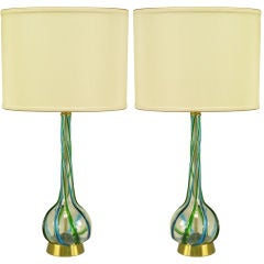 Pair Murano Blue & Green Ribbon Glass Table Lamps