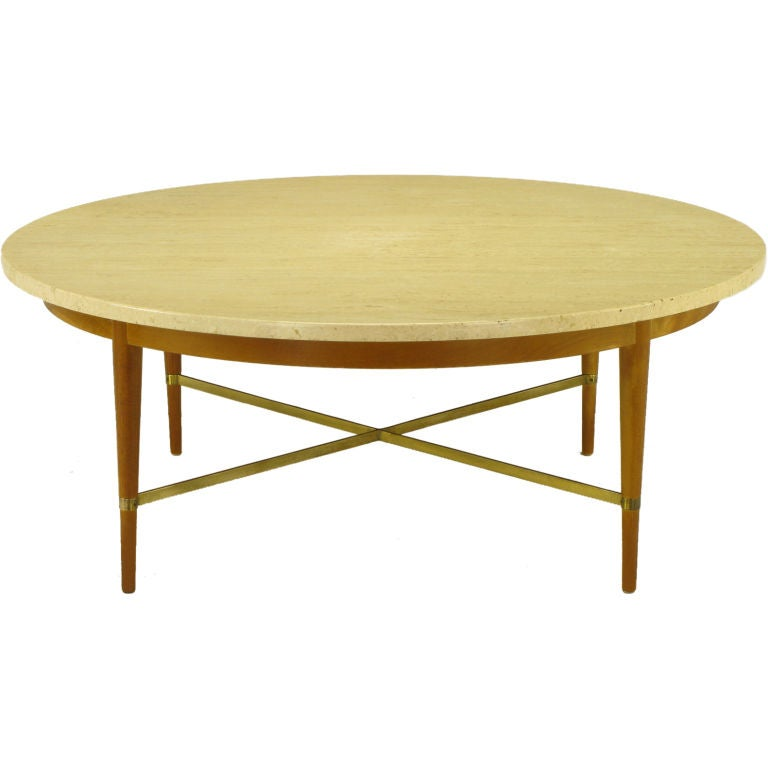 Paul Mccobb Round Mahogany Travertine And Brass Coffee Table At 1stdibs