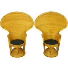 Pair Egyptian Style Rattan Cobra Back Chairs