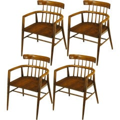Four Paul McCobb Dark Maple Dowel Barrel Back Dining Chairs