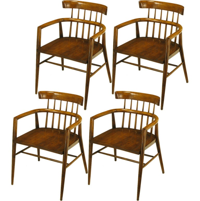 Four Paul McCobb Dark Maple Dowel Barrel Back Dining Chairs At 1stdibs