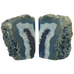 Pair Cadet Blue Polished & Rough Geode Book Ends