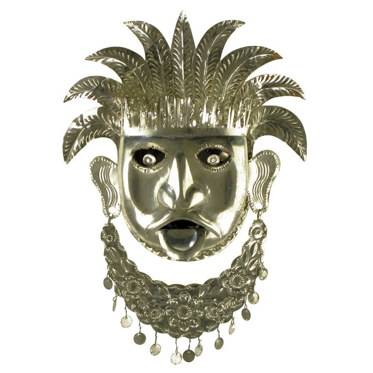 Stamped & Polished Metal Tribal Mask Wall Hanging